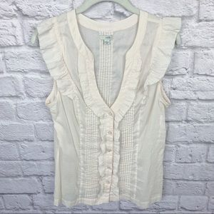 ❤️Anthropologie Odille Button Up Ruffle Top